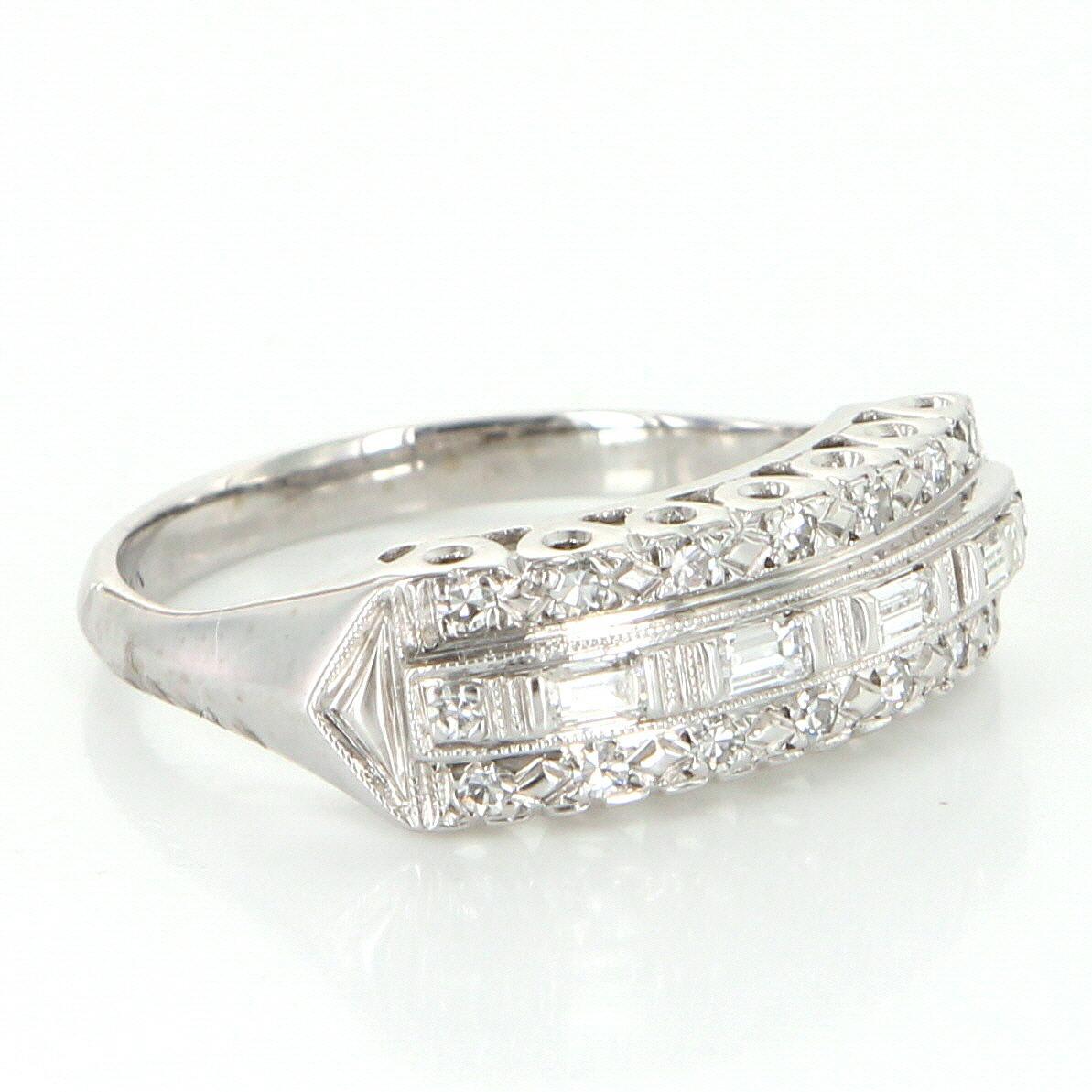 vintage art deco diamond anniversary ring 14 karat white. Black Bedroom Furniture Sets. Home Design Ideas