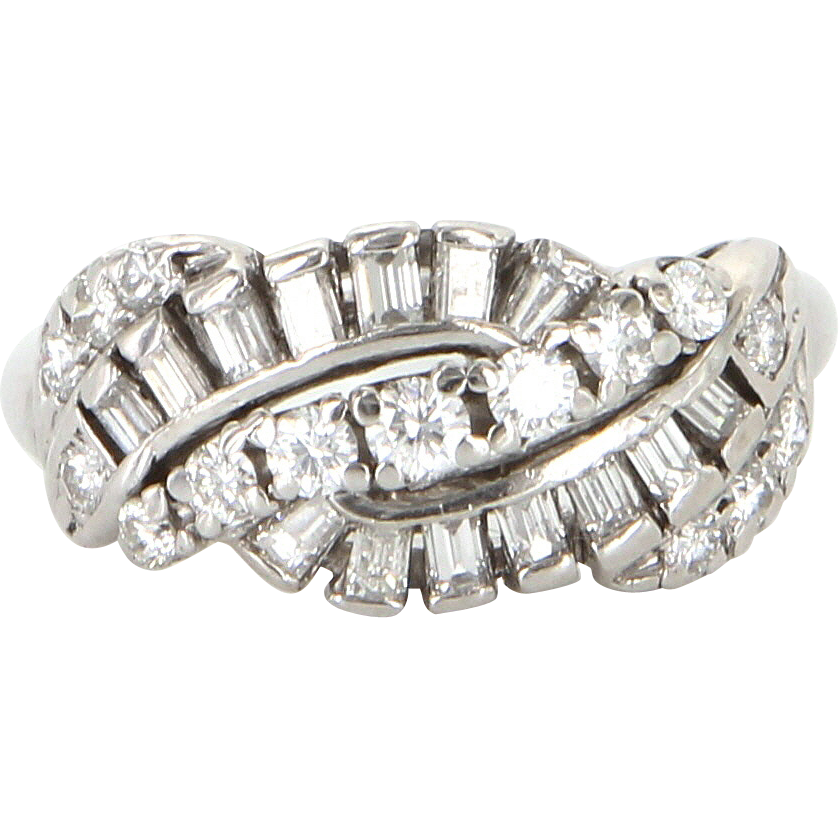 Vintage 900 Platinum Diamond Anniversary Band Ring Estate Fine Jewelry Pre Owned 7