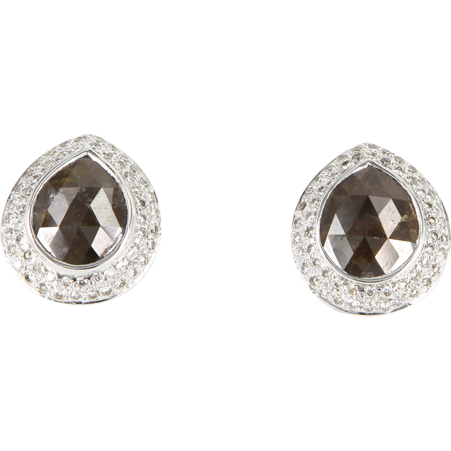 Vintage 8.90ct Rose Cut Diamond Stud Earrings 14 Karat White Gold Estate Fine Jewelry