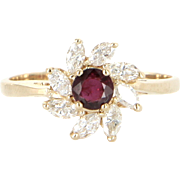 Vintage Natural Ruby Diamond Small Cocktail Ring 14 Karat Gold Estate Fine Jewelry