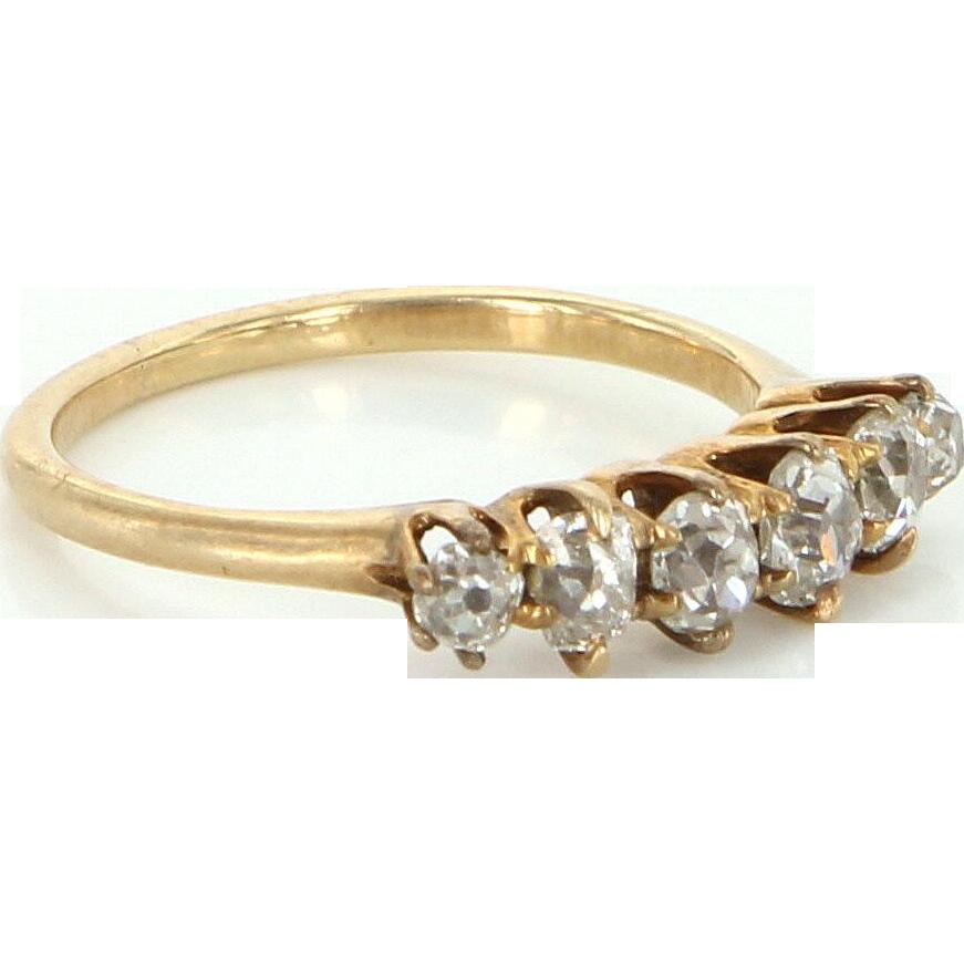 Vintage Art Deco Mine Diamond 14 Karat Gold Anniversary Ring Band Estate Fine Jewelry