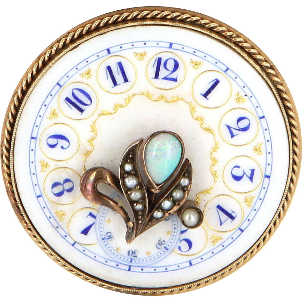 Vintage Clock Face Brooch Pin 14 Karat Gold Opal Pearl Estate Fine Jewelry Heirloom