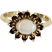 Opal Garnet Cocktail Ring Vintage 14 Karat Yellow Gold Estate Fine Jewelry Heirloom