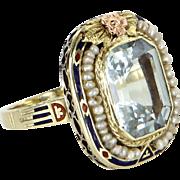 Vintage Art Deco Enamel Ring Aquamarine Seed Pearl 14 Karat Yellow Gold Estate Jewelry