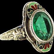 Vintage Art Deco Enamel Cocktail Ring 14 Karat Gold Estate Fine Jewelry Heirloom