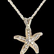 Starfish Diamond Necklace Vintage 14 Karat Yellow Gold Estate Fine Marine Jewelry Sea