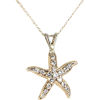Starfish Diamond Necklace Vintage 14 Karat Yellow Gold Estate Fine Marine Jewelry Sea