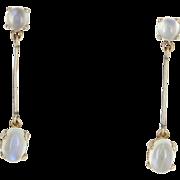 Rainbow Blue Moonstone Pendant Drop Dangle Earrings Vintage 14 Karat Yellow Gold