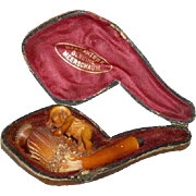 French - Antique - Meerschaum Figural Pipe - with Original Case!!!