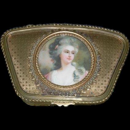 Beautiful, Antique, 1800's - Gold Bon Bon Box w/ Portrait of Woman - Marked : France!!!