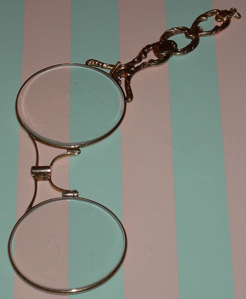 14k Solid Gold Eyeglass Frames : Antique 14K Gold - Lorgnette - Fancy Yellow Solid Gold ...