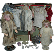 """Two (2) Sisters!! - Trunk & Clothes!! - Mold 1894 A.M. - Rare Bodies!! - 11"""" & 15"""" - So Much Fun!!"""