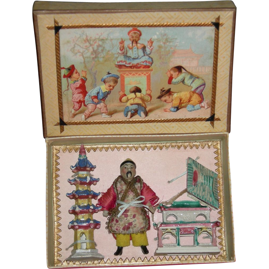 ASIAN PRESENTATION BOX - All Original - Rare German Set - Lithograph Box Lid - Children Playing - Miniature Size!!