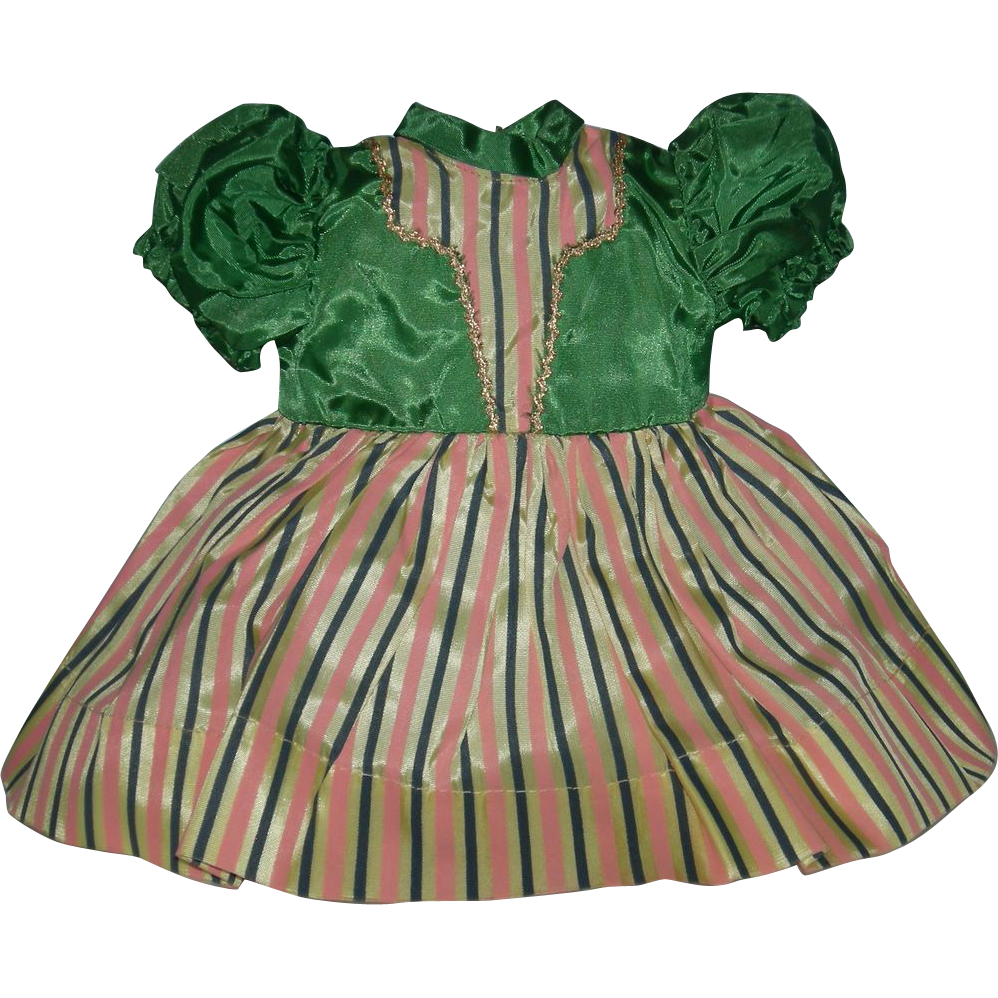 "DOLL DRESS - 1950's - Vintage - 10"" Long - Attached Panties - Green bodice w/ Insert & Striped Skirt - Gold Rick-Rack Trim"