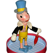 "Ideal - JIMINY CRICKET - Wood Segmented & Jointed Character - 9"" - Original Finish w/ Hat & Umbrella - 1940"