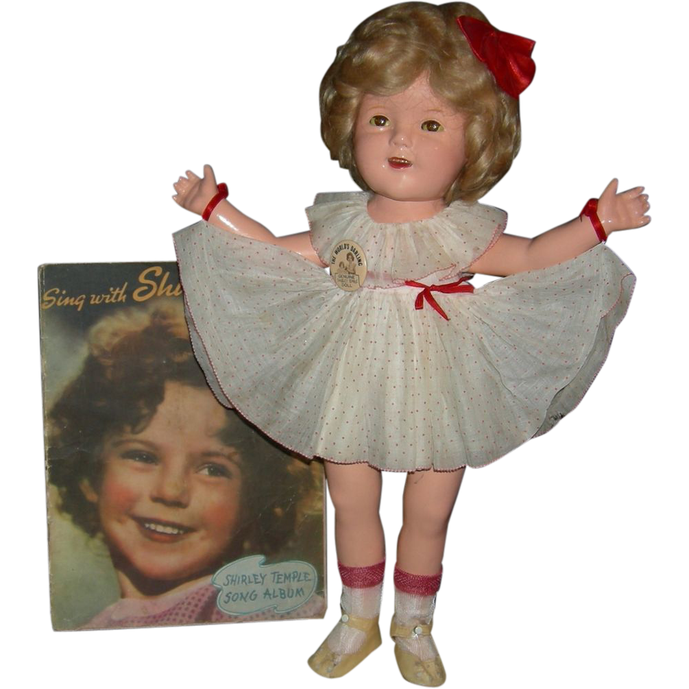 "1930's - SHIRLEY TEMPLE - Composition - 20"" - Original Clothes - Music Book Included!!!"