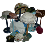 "Vintage!! - DOLL HAT STANDS!! - Six (6) - All Wood - Painted Flowers!! - 8 1/2"" - 10 1/2"""