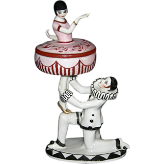 Antique PIERROT POWDER JAR - Germany - 1915 - Beautiful Detailed Painting!! - Two (2) Pcs.