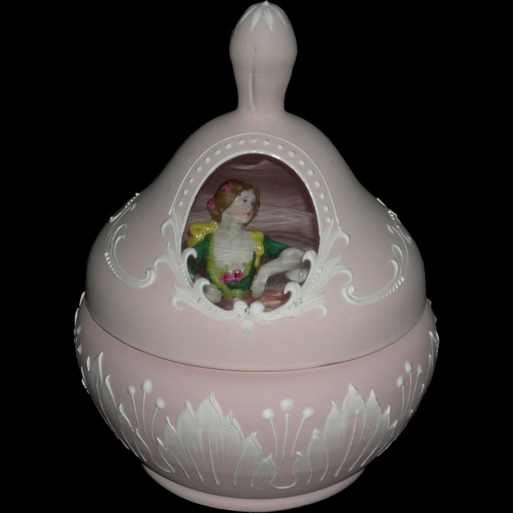 Rare!! - Antique POWDER JAR - Pink Frosted Glass - Raised Design w/ Clear Window & Powder Puff Half Doll!! - 3 Pcs.