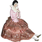 "Wonderful - ANTIQUE - POWDER BOX - Made For The French Market - Rare China 1/2 Doll w/ Legs - 7"" Tall"