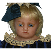 "MEECH - 24"" - English Poured Wax Doll - Blue Glass Eyes & Blonde Human Inserted Hair - Original Muslin Body & Wax Limbs!! - Pretty Antique Clothes!!!"