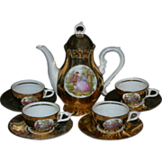 "GOLD TEA SET - Doll or Child Size - Victorian Pictures!! - Service For (4) Four - 8"" Tea Pot - Very Pretty!!! - Vintage!!"