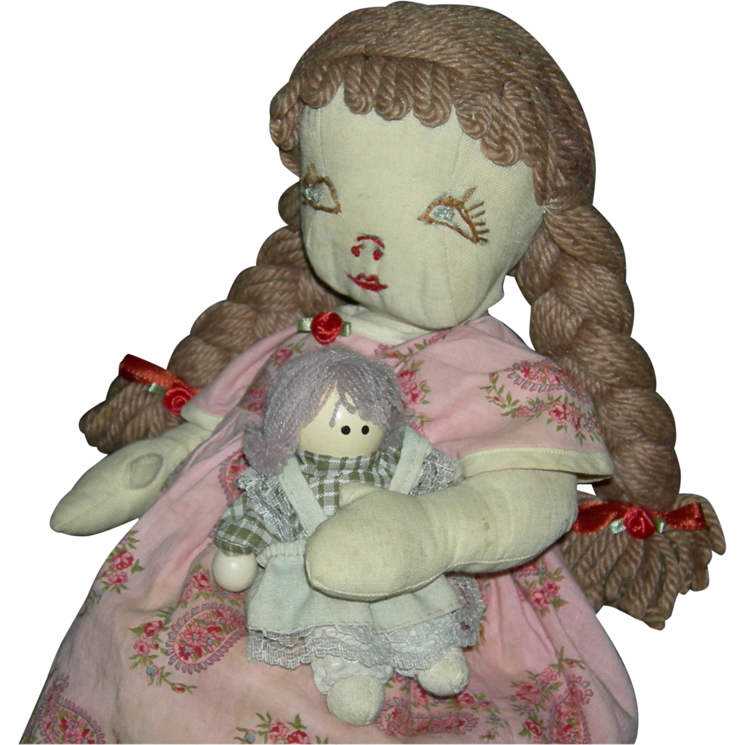 "Vintage - CLOTH RAG DOLL - Embroidered Face - 15"" - Yarn Hair - Pretty Dress!! - Much Loved!! - Edith Flack Pattern!!"