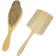 "VINTAGE!! - DOLL - COMB & BRUSH - Celluloid - 4 1/4"" Comb & 4"" Brush w/ Bristles"