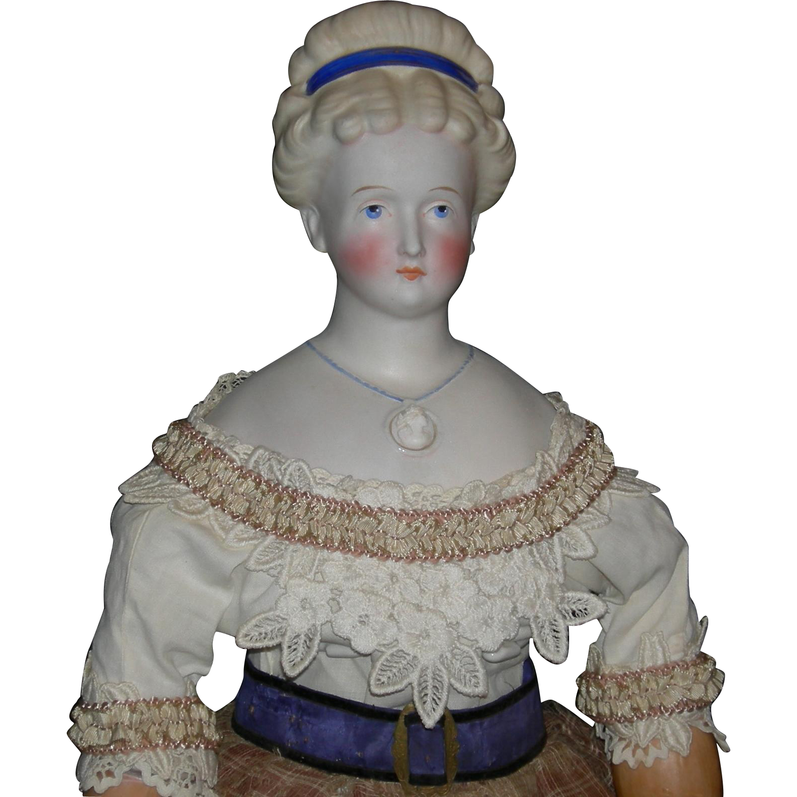 "CONTA and BOHNE - 1870 - Parian Bisque - 25"" - Rare Hairdo w/ Molded Headband - Molded Necklace - Antique Body w/ Wooden Arms & Legs!!"