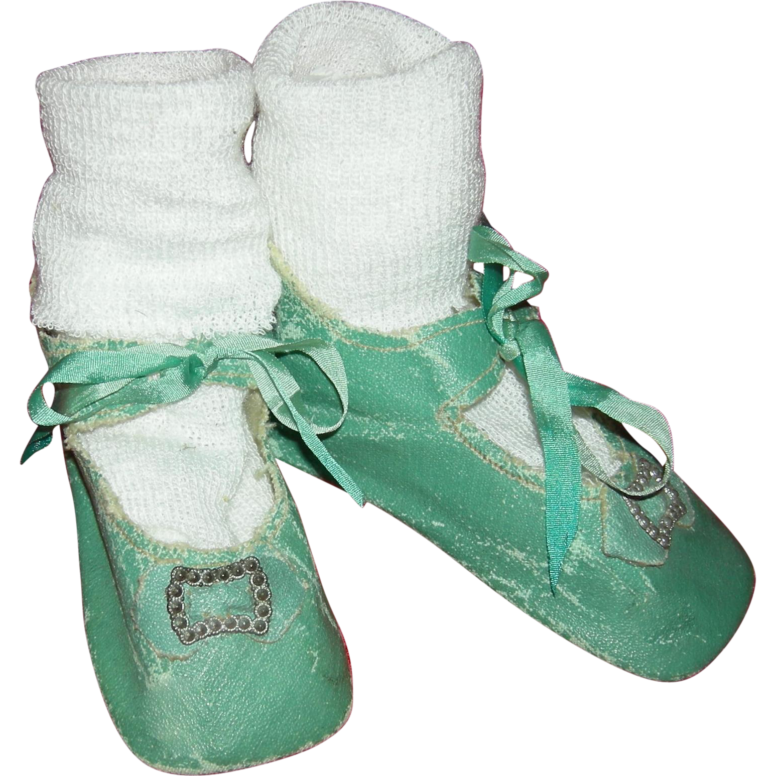 "TURQUOISE OILCLOTH SHOES - Marked: 12 - Ribbon Ties - 4 1/4"" Long  and  1 3/4"" Wide - Silky Socks Included!!!"