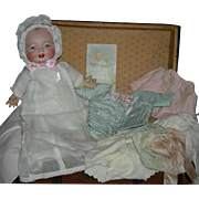 "VERY RARE TWO (2) FACE BABY - With Trunk & Layette - Happy & Sad - Original Old Cloth Body & Perfect Bisque Head!! - 13"" Doll"