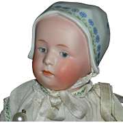 "GEBRUDER HEUBACH - BABY w/ MOLDED & DECORATED HAT - 10"" - Marked Head & Original Body Finish!!! - Known as BABY STUART!!"