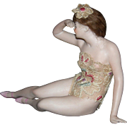 "GALLUBA & HOFFMAN - BATHING BEAUTY - 5 1/2"" Long - Lovely Modeling w/ Pink Molded Shoes - Original Wig - Germany - Incised #405T"