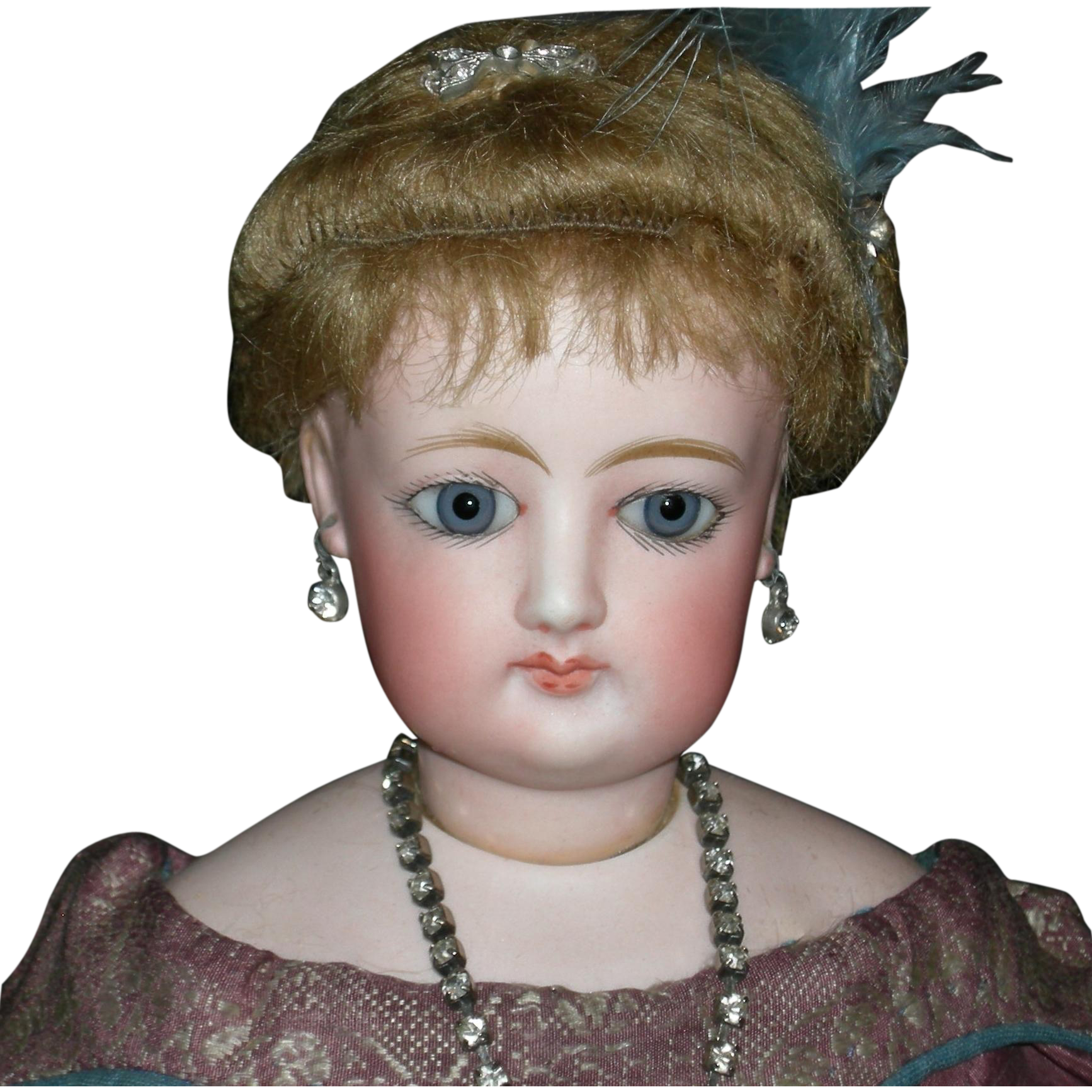 "FRANCOIS GAULTIER - 18"" - French Fashion Doll - F.G. 4. - Blue Paperweight Eyes, Antique Wig & Pate - Kid Body - Lovely Clothes!!"