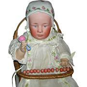 "GEBRUDER HEUBACH - BABY STUART - 11"" - Dutch Molded Bonnet w/ Pink Flowers - Pretty Clothes & Accessories!!!"