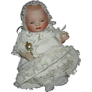 "ALL BISQUE BYE-LO - Lovely Layette Clothes - Brown Sleep Eyes & Swivel Neck - Chest Label - 7"" - Grace S. Putnam"