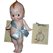 """GIANT """"KEWPIE"""" - 11"""" - All Bisque - Signed Rose O'Neill - Plus Two Antique Kewpie Cards!!! - Germany!!"""