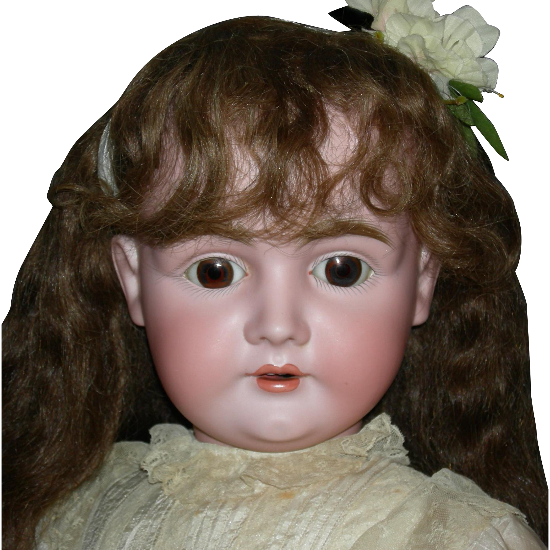 "GIANT 32"" - J.D. KESTNER 164 - Brown Sleep Eyes - Orig Human Hair Wig - Orig Plaster Pate - Orig Finish on Marked Body!!"
