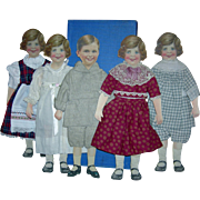 "SET (5) LITHOGRAPHED CARDBOARD DOLLS - Hinged Arms - w/ Fabric Clothes - Original Papered Wood Case - 14"" Dolls - 1920's"