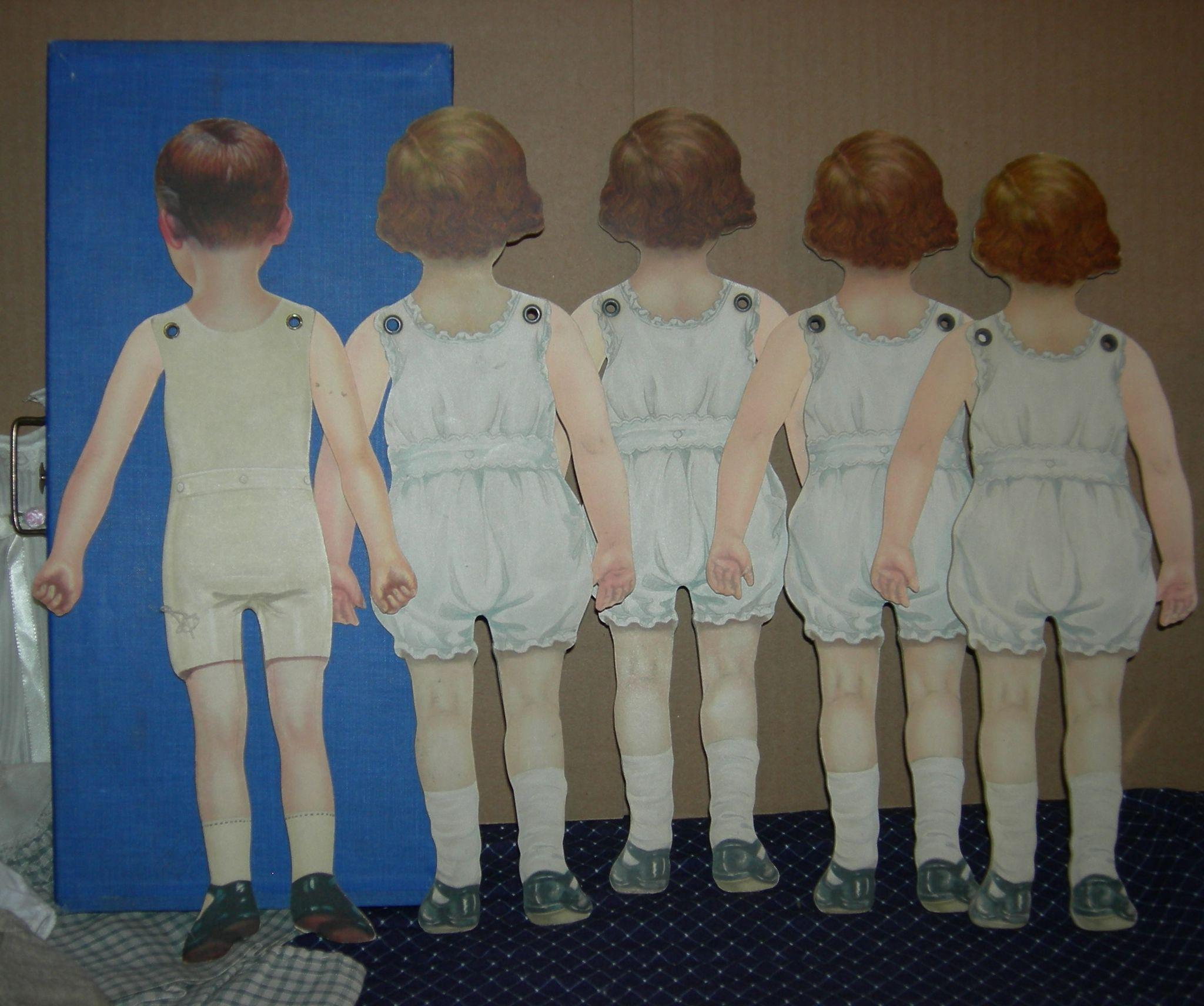Amazing photo of SET (5) LITHOGRAPHED CARDBOARD DOLLS Hinged Arms w/ Fabric Clothes  with #204677 color and 2048x1712 pixels