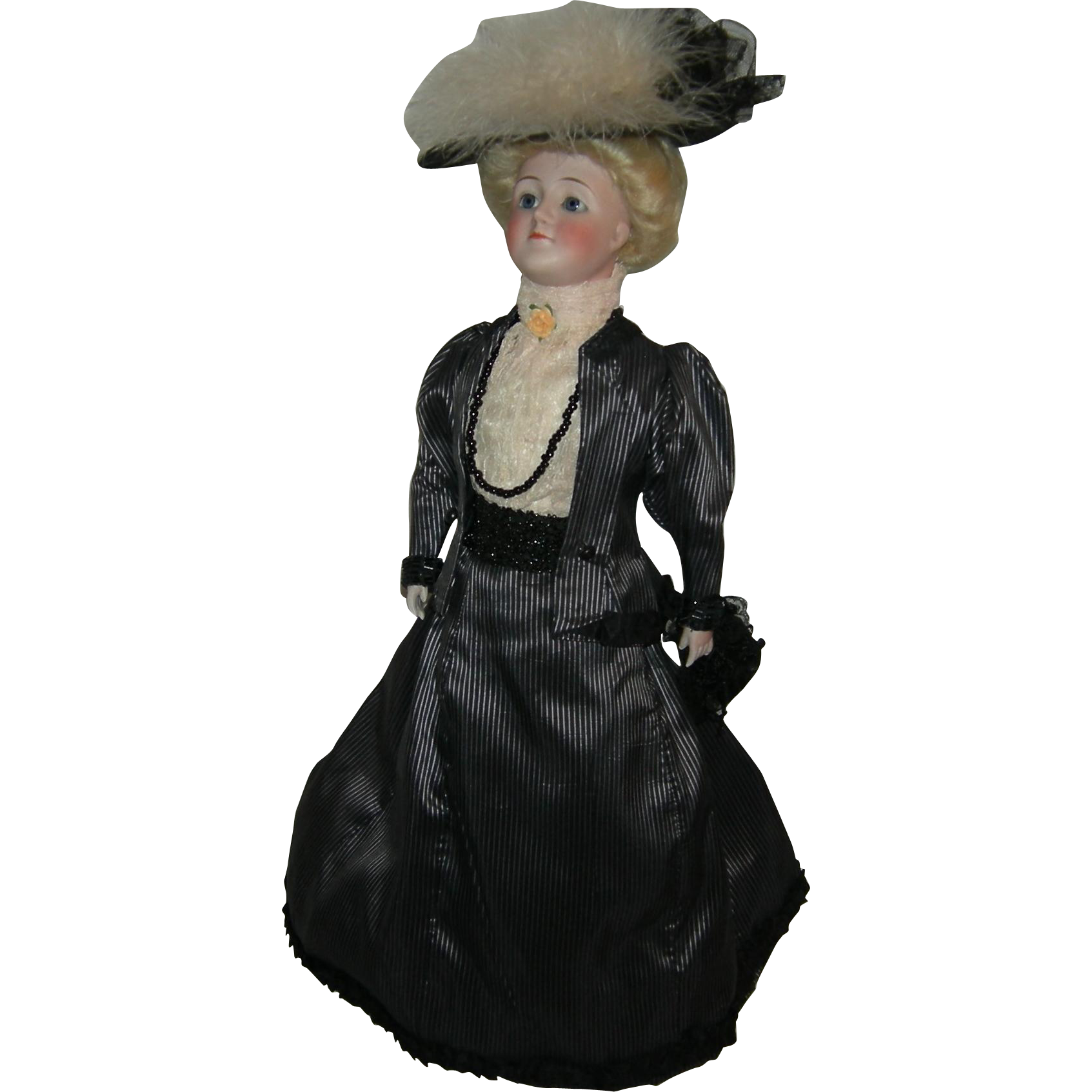 "GIBSON GIRL - J.D. KESTNER - 19"" - Original Kid Jointed Body - 1910 - Pretty Clothes & Purse!! - #172"