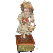 "MECHANICAL DOLL On A Music Box - Hand Crank - 14"" - Original German Doll - Schoenau Hoffmeister Head"