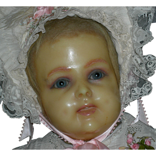 """FRENCH MANNEQUIN CHILD BUST - Wax - Marked Paris - 12"""" High - Inserted Hair - Blue Glass Eyes"""