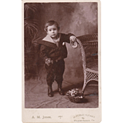 "ORIGINAL LITTLE BOY PHOTO - Vintage - Black & White - 6 1/2""- x 4 1/4"" - Dark Coloring!!"