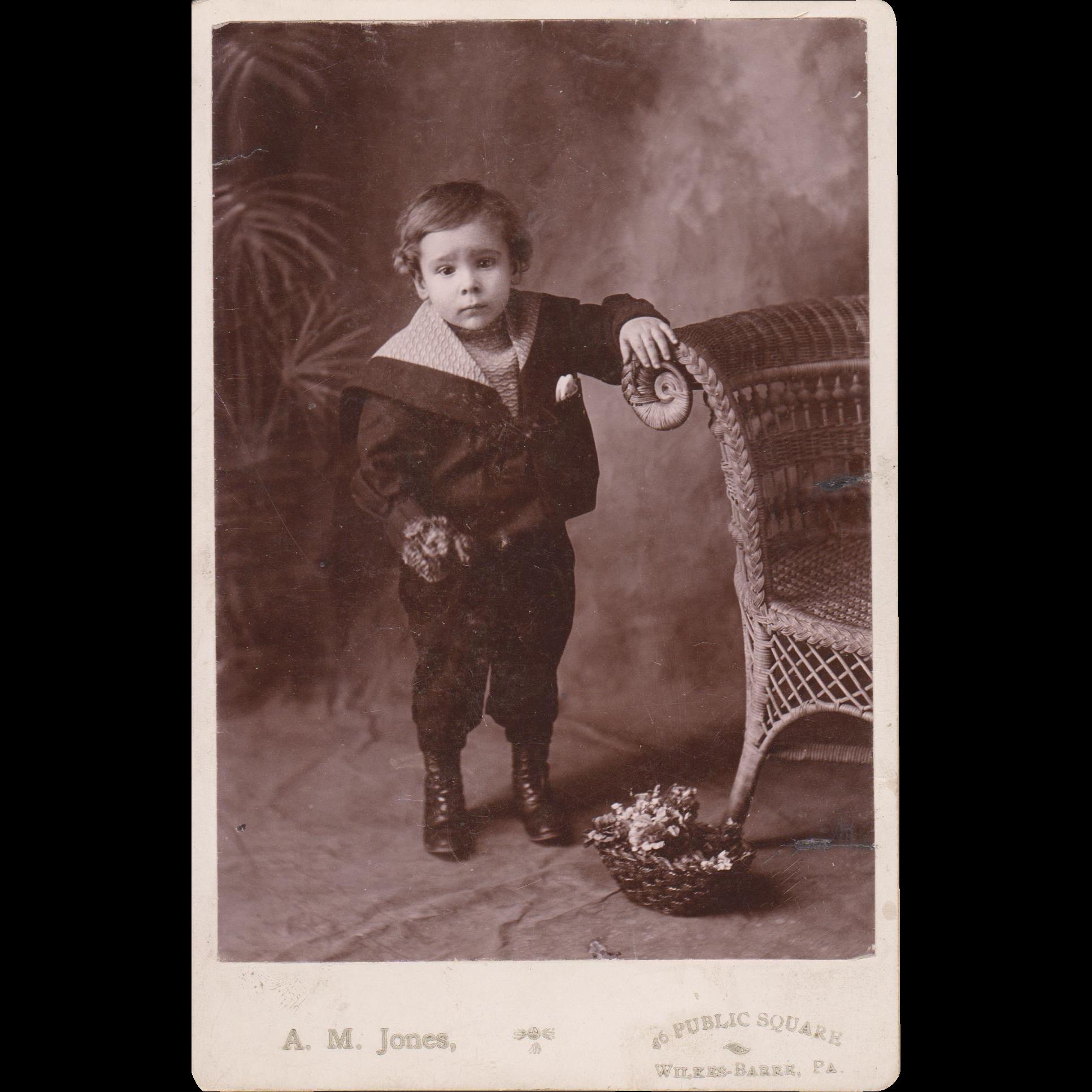 "ORIGINAL LITTLE BOY PHOTO - Vintage - Black & White - 6 1/2""- x 4 1/4"" - Dark Coloring!!"