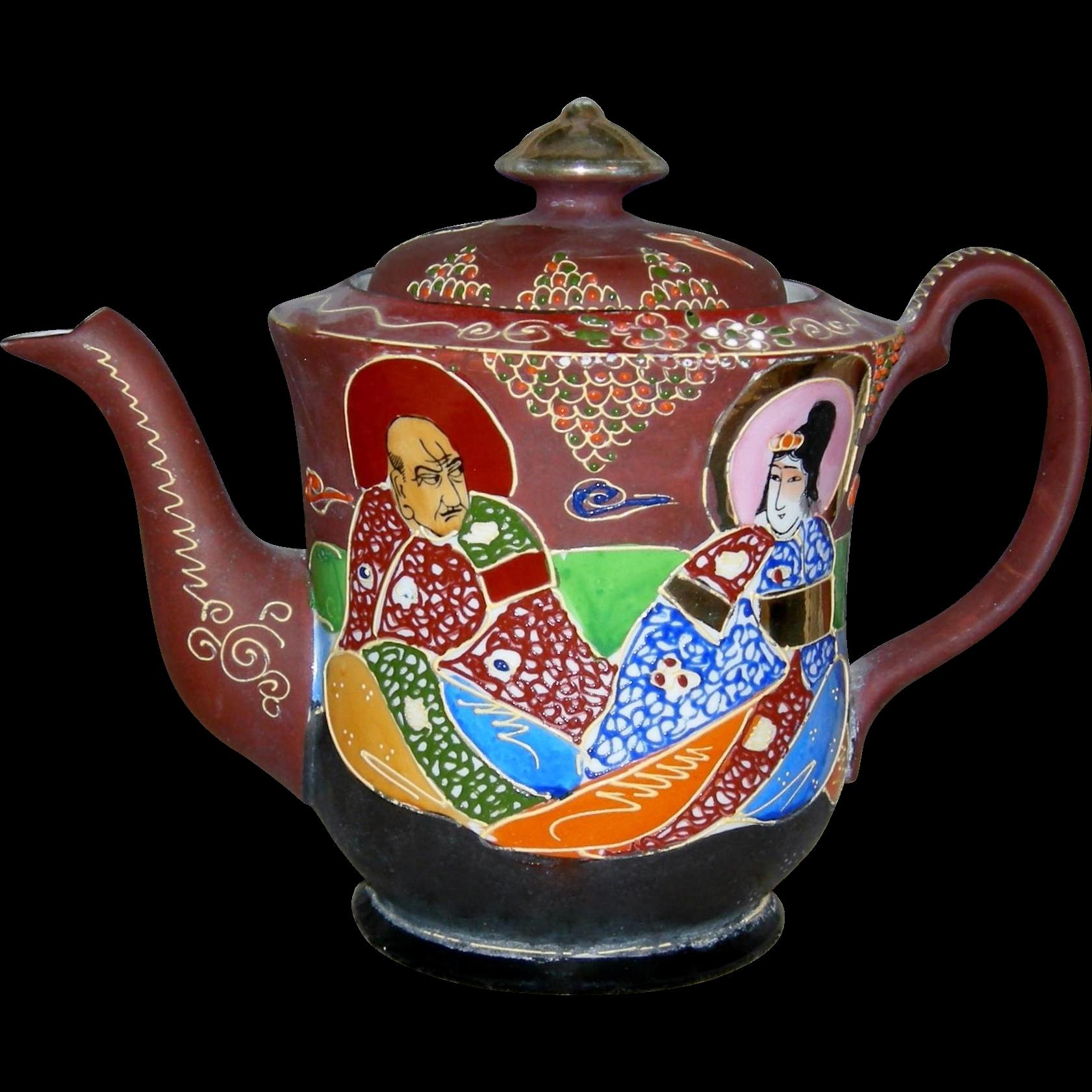 "SATSUMA MORIAGE - TEAPOT - Japanese - Vintage - Porcelain - Raised Design - 7"""