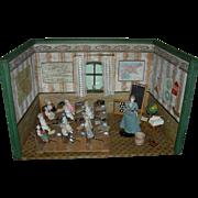 "Wonderful - SCHOOLROOM DOLLHOUSE - Wood - Included Are Desks, Books, Globe, Curtains, Abacus, Blackboard, Maps, Porcelain Inkwells, Etc - Vintage - 26"" Wide"