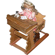 "SCHOOLROOM DESK w/ Attached Sliding Chair - On a Platform - Miniature Prop For a Doll - 5 1/2"" High - Vintage!!"