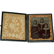"THREE SISTERS - TINTYPE - Perfect Leather Case w/ Lock - Glass - Copper Frame - 3"" x 2 1/2"""