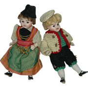 "All Bisque - BROTHER & SISTER - (2) Dolls - Glass Eyes - Original Clothes - 3 1/2"" - Cute!!"